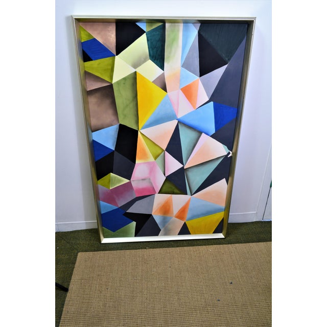 Metal Abstract Bungalow 5 Hearst Silk Painting, Framed For Sale - Image 7 of 9