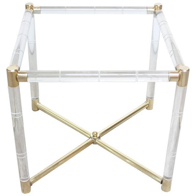 Charles Hollis Jones Lucite Faux-Bamboo and Brass Side Table - Image 3 of 10