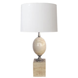 Good French 1970s Phillipe Barbier Polished Travertine and Chrome Lamp For Sale
