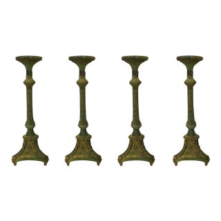 Tall Neoclassical Bronze Pricket Candlesticks - Set of 4