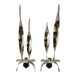 Vintage Mid-Century Modern Polished Chrome Finished Flame Andirons Pair For Sale