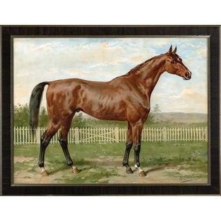 English Fullbread Horse by Eerelman Framed in Italian Wood Vener Moulding For Sale
