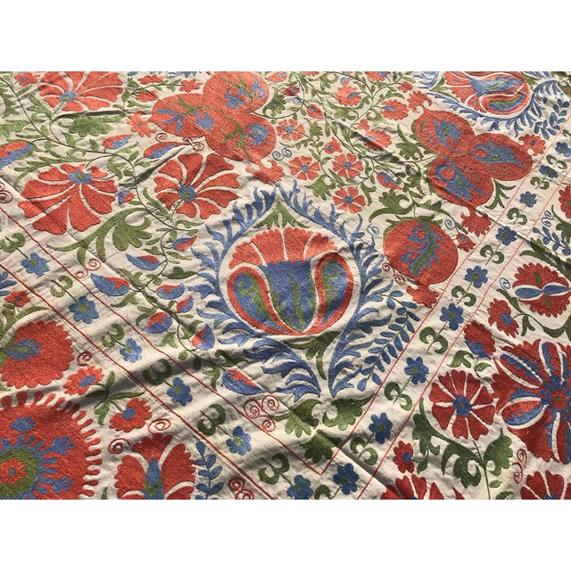 Handmade Suzani Pastel Floral Grand King Size Bedspread - 8' X 10' For Sale - Image 4 of 10