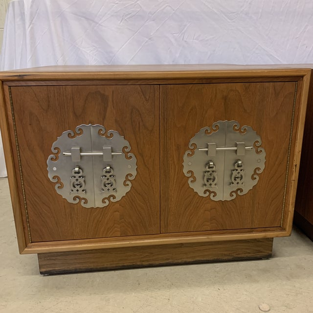 Solid Walnut Asian Chest End Tables -A Pair For Sale - Image 4 of 11