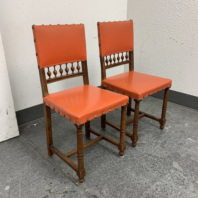 Mid-20th Century Orange Mission Side Chairs - a Pair