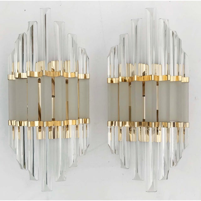 Metal 1970s Murano Glass and Brass Wall Sconces - a Pair For Sale - Image 7 of 7