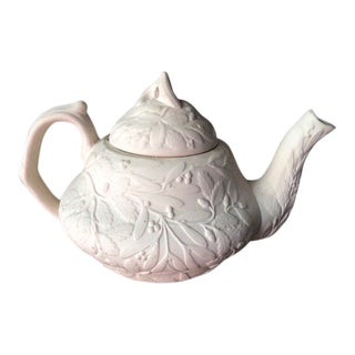 Mistletoe Embossed Bisque Ceramic Teapot For Sale