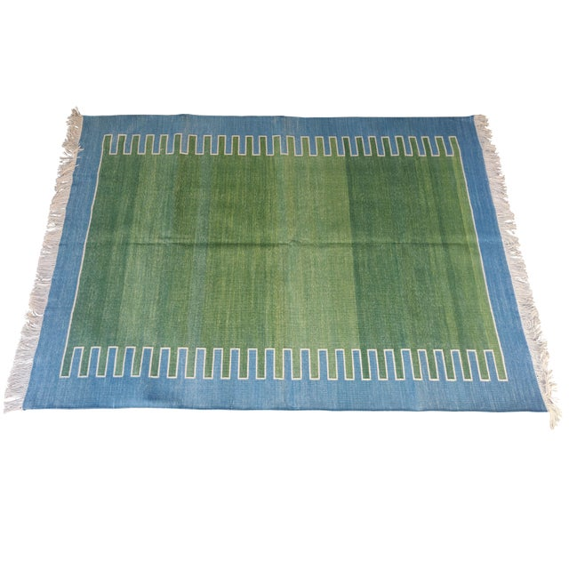 Handmade Cotton Rug, Green with Blue Geometric Border and Cream Fringe 3'x4' For Sale - Image 6 of 7