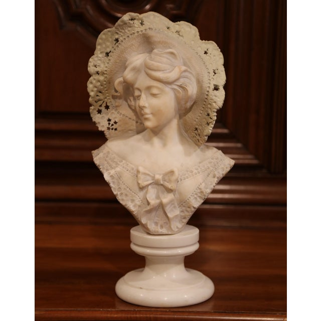 Tan 19th Century French Marble Bust of Young Beauty With Lace Hat on Swivel Base For Sale - Image 8 of 8
