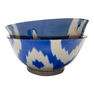 Tamam Vintage Uzbek Blue Ikat Soup Bowls - Set of 2 For Sale