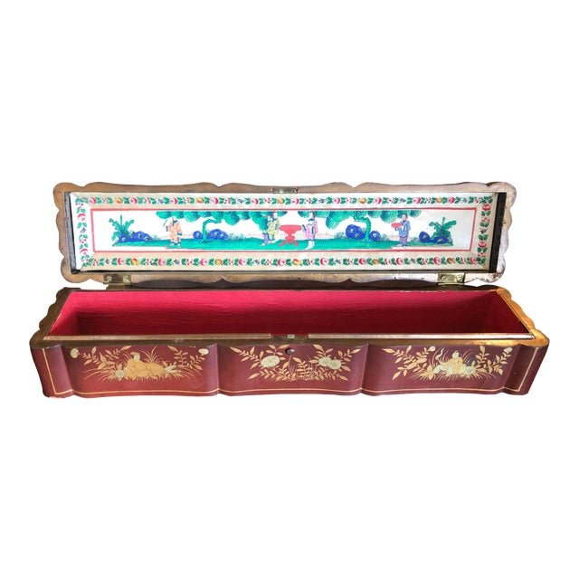 Early 19th Century Hand Painted Chinese Fan Box For Sale
