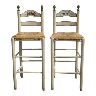Pair Vintage French Country Shabby Chic Barstools Off White Floral W Rush Seats For Sale