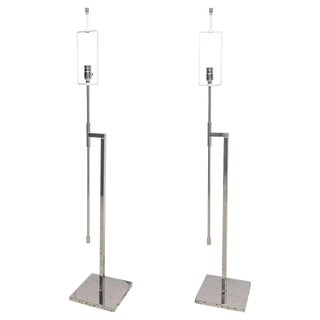 Adjustable Nickel-Plated Floor Lamps, Hansen, 1960s-70s - a Pair For Sale