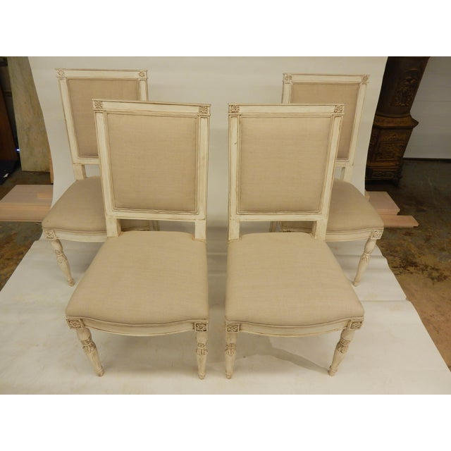 Wood Four Painted Directoire Style Side Chairs For Sale - Image 7 of 7