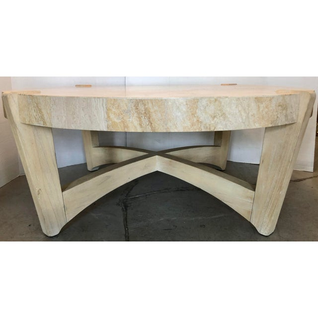 Large and beautiful tessellated travertine and wood legs coffee table by Kreiss Collection. Cool design and organic look....