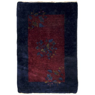 1920s Handmade Antique Art Deco Chinese Rug 2' X 3.1' For Sale
