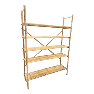 1970s Boho Chic Bamboo Tiger Stripe Shelving Unit For Sale