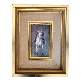 Small Original Vintage Polo Player Painting Signed For Sale