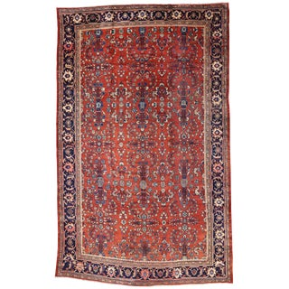 Antique Persian Mahal Palace Size Rug With Jacobean Style, 11'01 X 17'07 For Sale