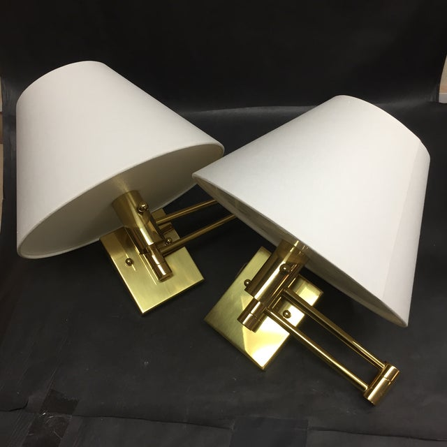 Casella Satin Brass Oversized Swing Arm Wall Lamp and Linen Shade - a Pair For Sale - Image 11 of 11