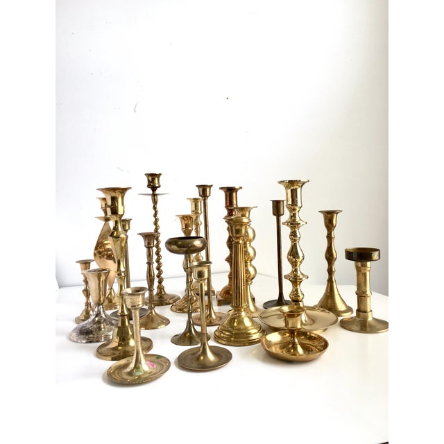 Vintage Brass Candlesticks - Lot of 21 For Sale - Image 4 of 10