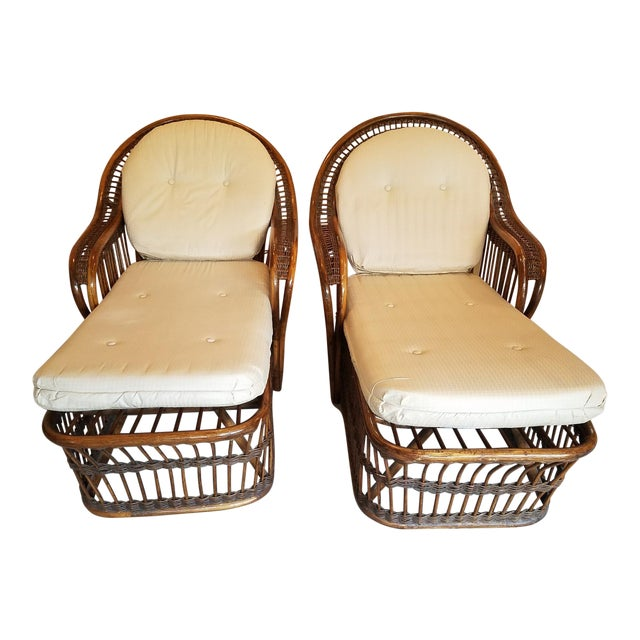 Vintage Wicker Rattan Chaise Lounges - A Pair For Sale