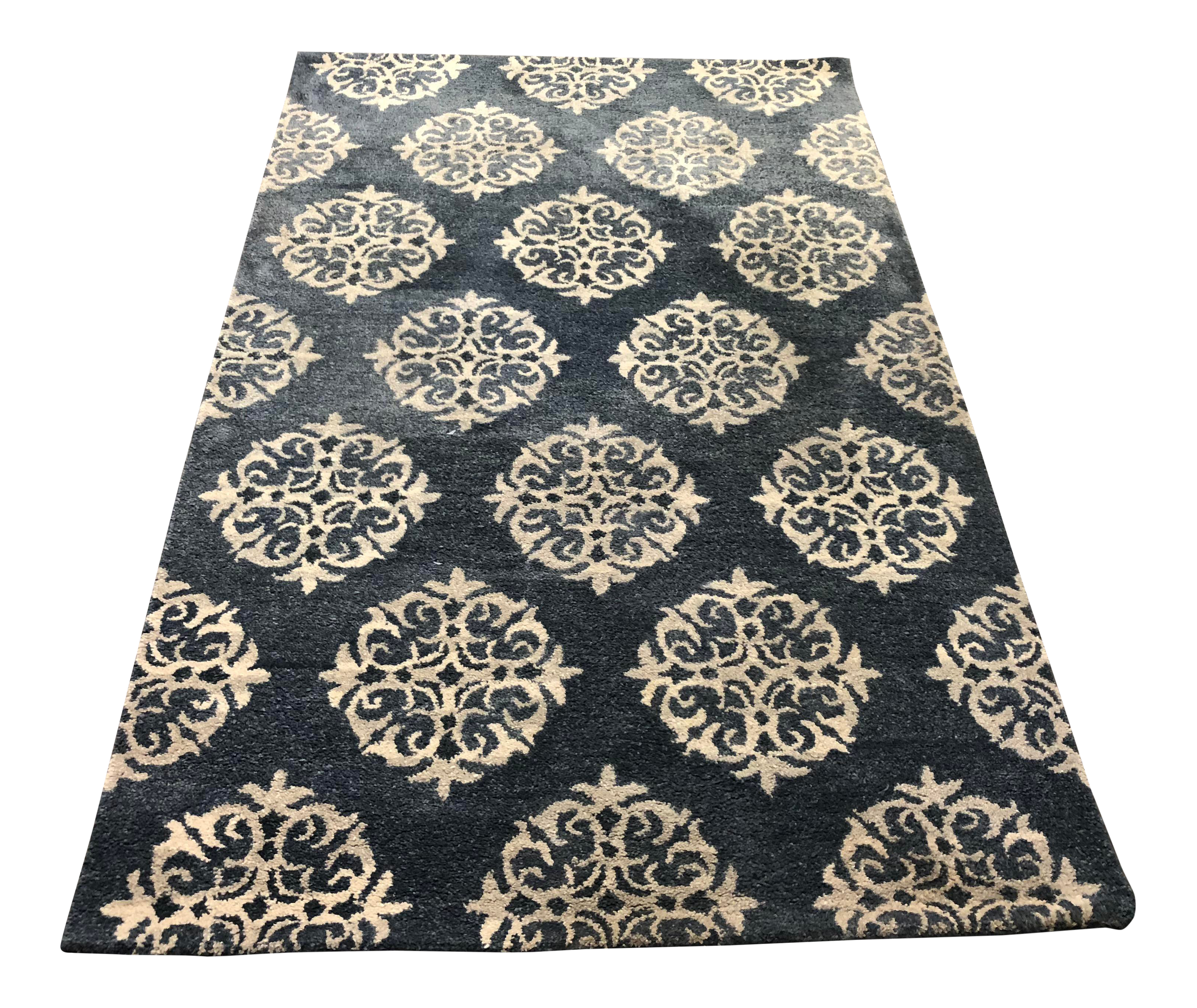 5ft X 8ft Pottery Barn Finn Hand Knotted Blue Multi Area Rug Chairish