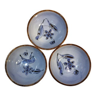 Asian Style Hand Made China Bowls - Set of 3 For Sale