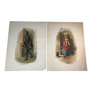 """1892 Antique Characters From """"The Legend of Sleepy Hollow"""" Hand Colored Etchings - A Pair For Sale"""