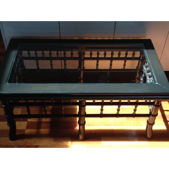 Black Faux Bamboo Coffee Table With Glass Top - Image 6 of 8