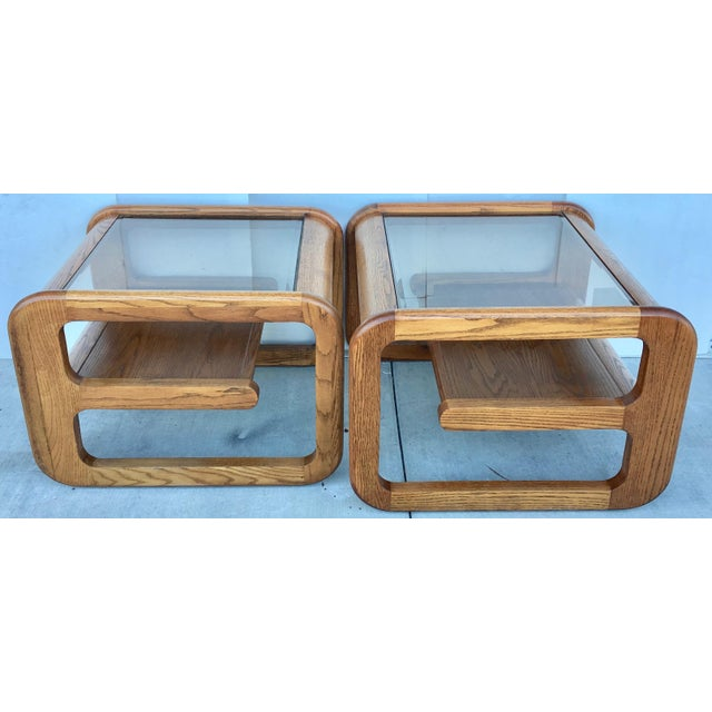 Geometric Oak & Glass Side Tables - Image 2 of 8