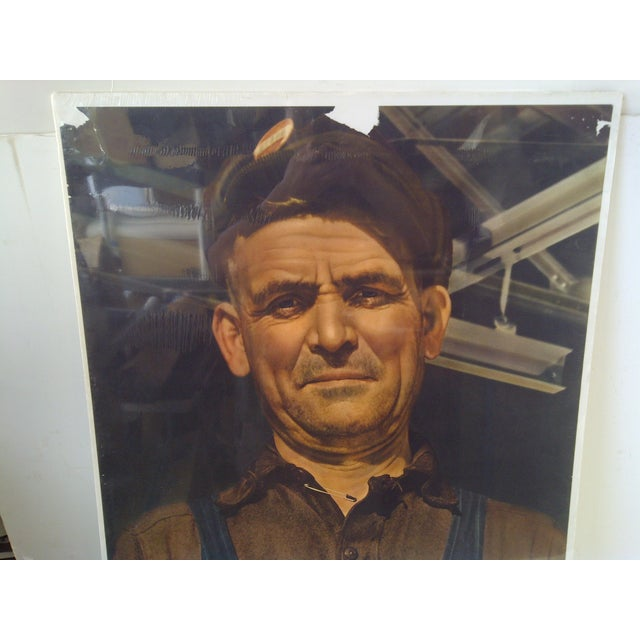 """Traditional """"Iron Worker"""" Vintage WWII Victory Poster For Sale - Image 3 of 8"""