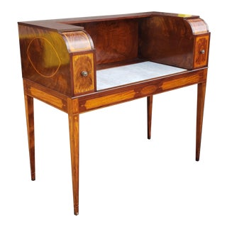 Very Fine Inlaid Mahogany Hepplewhite Style Marble Top Cellarette Bar Cabinet Table C1900. For Sale