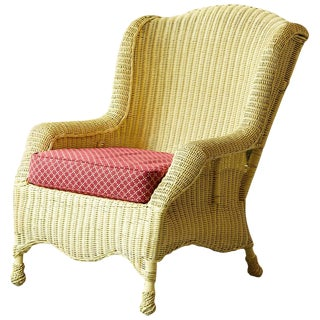 Vintage Pale Yellow Cape Cod Wicker Fauteuil With Pierre Deux Fabric Cushion For Sale