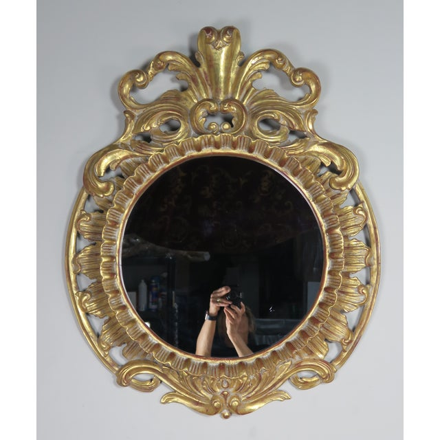 French Gilt Wood Rococo Style Round Shaped Mirror For Sale - Image 10 of 11