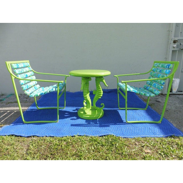 2 Mod late 60's psychedelic samsonite wrought iron patio chairs w a contemporary seahorse table restored painted lime...