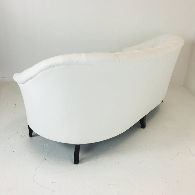 Late 20th Century White Tufted Curved Regency Petite Sofa For Sale - Image 5 of 7