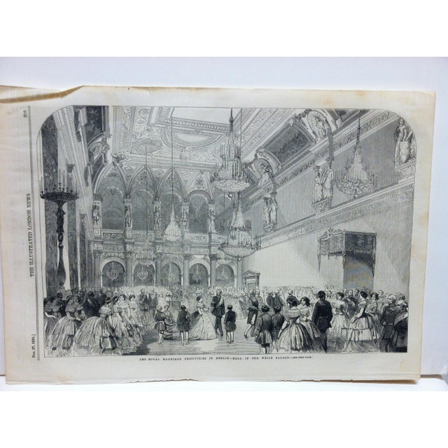 """This is an Antique Original Print from The Illustrated London News that is titled """"The Royal Marriage Festivities In..."""