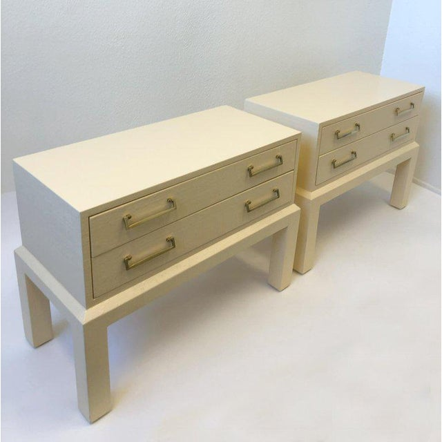 Modern Pair of Brass and Lacquered Two Drawers Nightstands by Steve Chase For Sale - Image 3 of 7