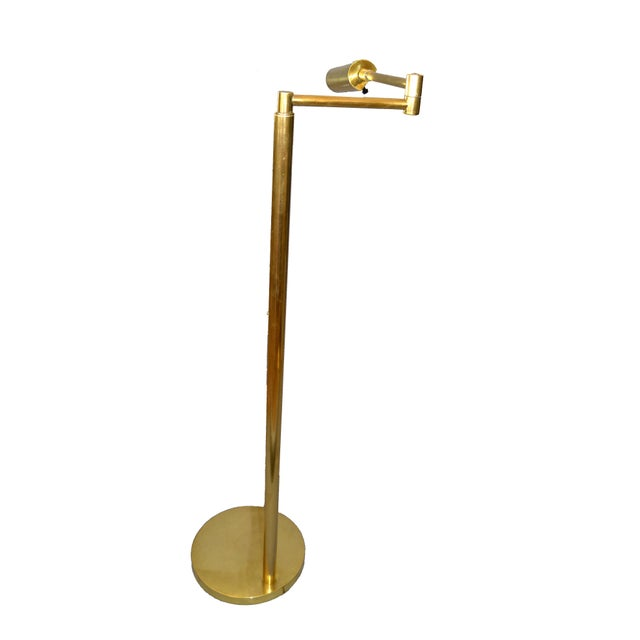 Italian Brass Swing Arm Floor or Reading Lamp For Sale - Image 4 of 13