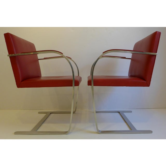 Knoll International Vintage Pair of Knoll Brno Chairs in Red Leather For Sale - Image 4 of 9