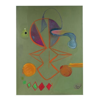 Large Abstract in Sage Green, Oil on Canvas, 1971