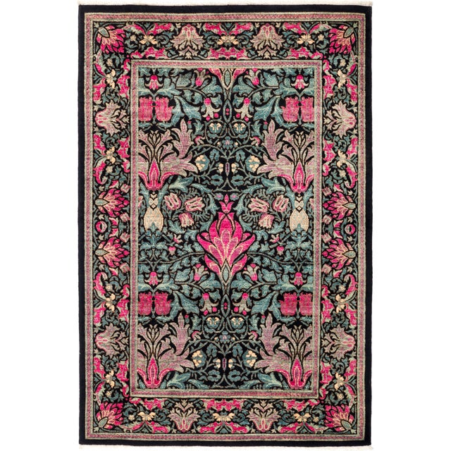 """Eclectic Hand Knotted Area Rug - 4' 2"""" X 6' 3"""" - Image 4 of 4"""
