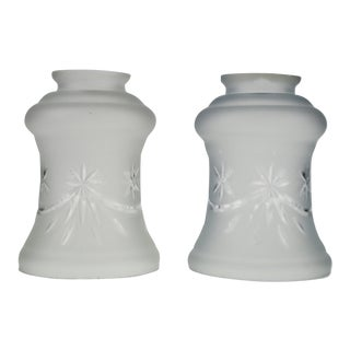 Victorian Style Frosted and Etched Glass Shades - a Pair