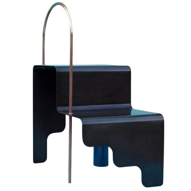 Blackened Steel With Powdered-Coated Steel and Brass Detail Step Stair For Sale