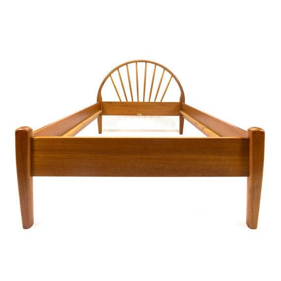 Beautiful teak spindle back bed frame by Jespersen of Denmark. All solid teak construction, in excellent original...