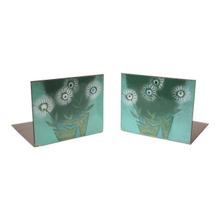 Pair of Mid-Century Enamel Bookends by Robert Wuersch For Sale