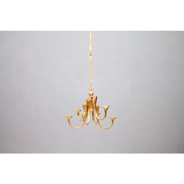 Harjes Solid Bronze Pendant Candleholder, Germany, 1960s For Sale - Image 10 of 10