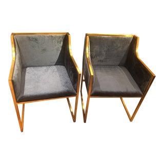 Blue Velvet Camden Chairs - A Pair For Sale