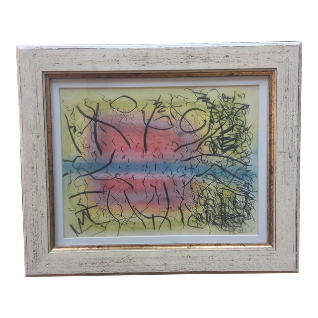 1970's Vintage Original Robert Cooke Charcoal & Pastel Abstract Painting For Sale